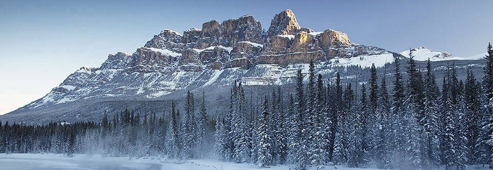 Castle Mountain and Bow River in winter, Banff National Park