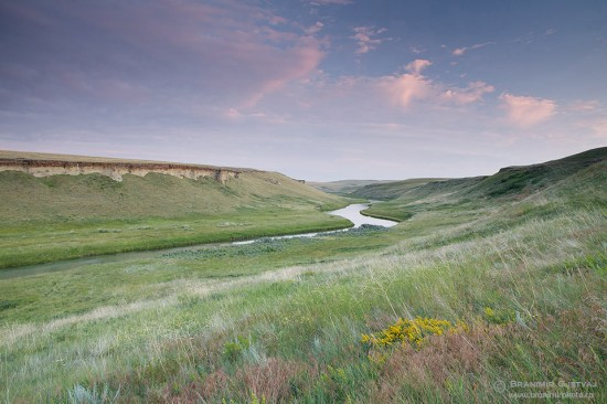 North Milk River meanders though Sandstone Ranch near Del Bonita, Alberta