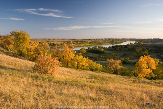 Fall colours along the South Saskatchewan River at Wanuskewin Heritage Park, Saskatoon