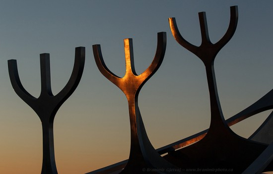 Detail of the Sun Voyager sculpture in the shape of a Viking ship, Reykjavik