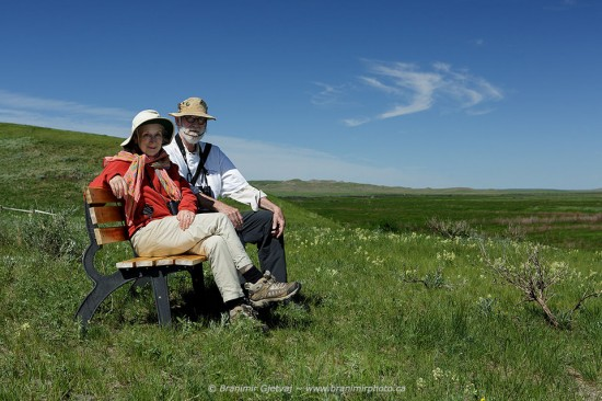 Margaret Atwood and Graeme Gibson in Grasslands NP