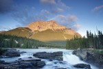 Athabasca Falls with Mt. Kerkeslin at sunset. Jasper National Park, Alberta