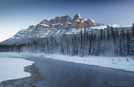 Castle Mountain and Bow River in winter. Banff National Park, Alberta