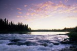Rapids on Churchill River at dusk. Near Missinipe, Saskatchewan, Canada