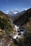 Imja Khola River and view of Mt. Ama Dablam (6812 m). Khumbu region, Himalayas, Nepal