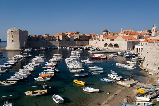 Part of the city walls and harbour, Dubrovnik