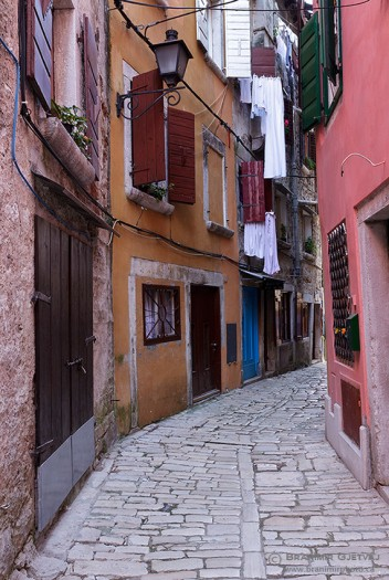 Cobblestone street in the old city of Rovinj, considered to be one of the most beautiful towns on the Istrian peninsula