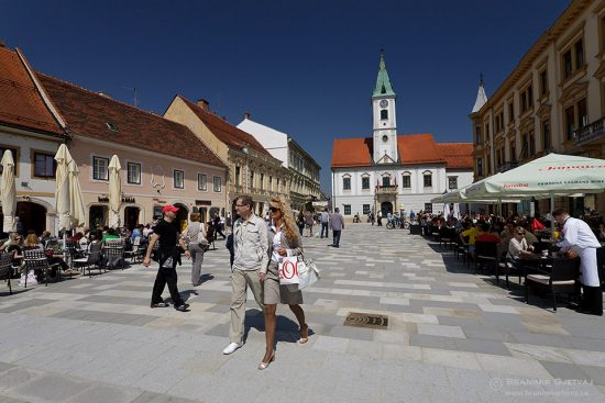 View of King Tomislav square in Varazdin, Croatia