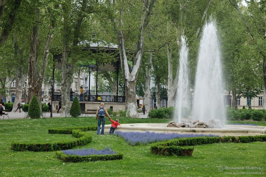 Nikola Subic Zrinjski Square - part of the Green Horshesoe complex of city parks in downtown Zagreb, Croatia