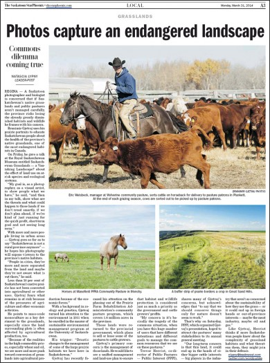 Saskatoon Star Phoenix article: Photos capture endangered landscape