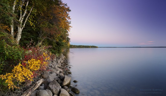 Waskesiu Lake in autumn, after sunset. Prince Albert National Park, Saskatchewan