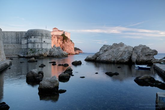 The last rays on sunlight on Dubrovnik city walls, Croatia