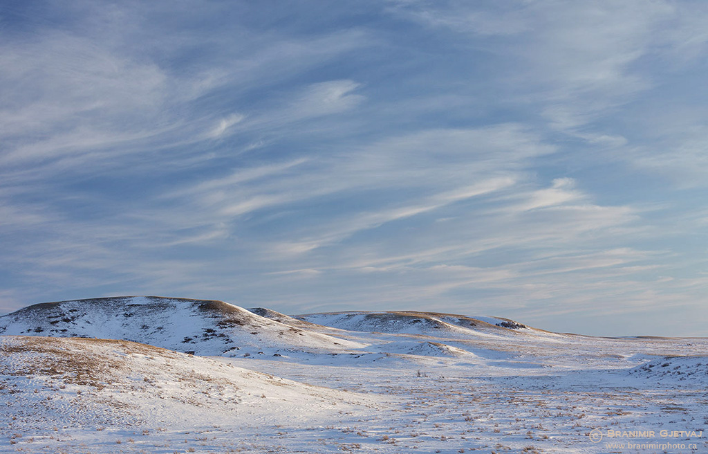 Winter prairie landscape in Grasslands National Park, Saskatchewan