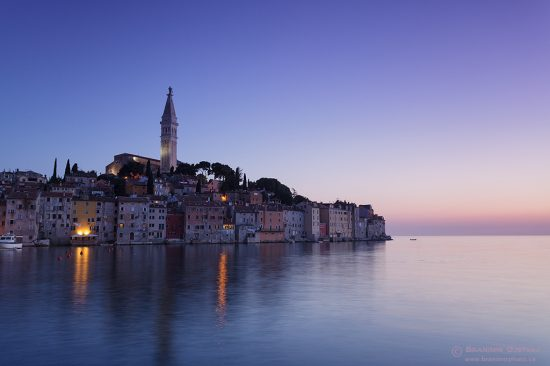 View of the coastal town of Rovinj at dusk, Istria.