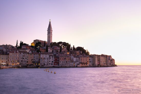 View of the coastal town of Rovinj at twilight, Croatia.