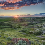 70 Mile Butte at sunset, Grasslands National Park