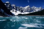 Spring thaw on Moraine Lake (Valley of the Ten Peaks) in Banff National Park. Alberta, Canada