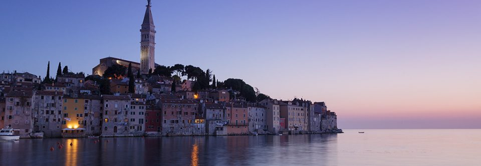 Coastal town of Rovinj at dusk. Istria, Croatia